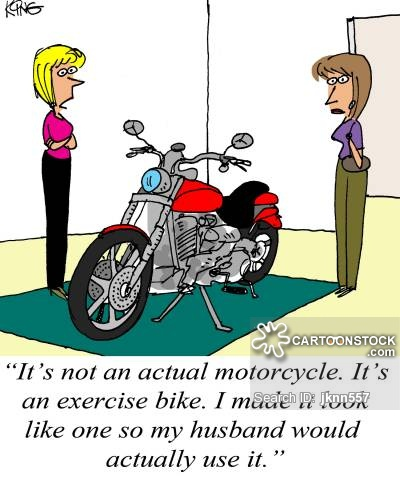 'It's not an actual motorcycle. It's an exercise bike. I made it look like one so my husband would actually use it.'